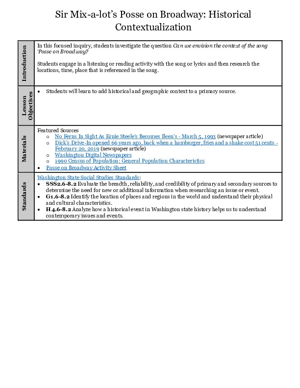 Posse on Broadway Lesson Plan with Activity Sheet (form fillable pdf)